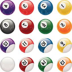 1/8 Sheet - Pool Balls Billiards Birthday - Edible Cake/Cupc