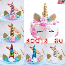 1 PC Cute Unicorn Horn Cake Topper Birthday Party Event Supp
