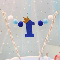 1 Set Kawaii ONE Year Crown Pompon <font><b>Cake</b></font>