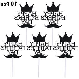 10 pcs Cake Toppers Paper Chic Cake Picks Cupcake for Father
