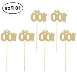 BESTOYARD 100 Gold Cake Toppers baby 100 days celebration 10