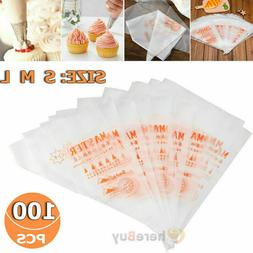 100 Thick Plastic Disposable Pastry Bag Icing Piping Cake Cu
