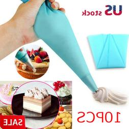 10x Silicone Reusable Icing Piping Cream Pastry Bag DIY Cake