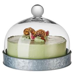 """11""""x9"""" Glass Dome Lid Cover Cake Decorative Stand with Round"""