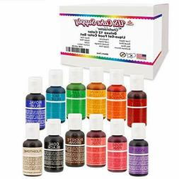 12 Color Cake Food Coloring Liqua-Gel Decorating Baking Set