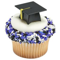 12 Black 3D Graduation Cap Hat Cupcake Picks Cake Candy Cook