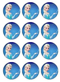 12 EDIBLE Disney Frozen Cupcake Toppers or Cookie Toppers Ed