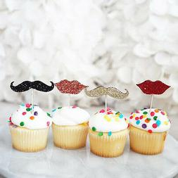 12 Glitter Mustache Man Red Lips Gold Black Cupcake Cake Top