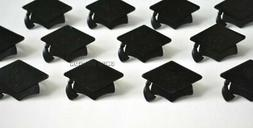 12 Grad Graduation Black Hat Cap Cup Cake Rings Topper Party