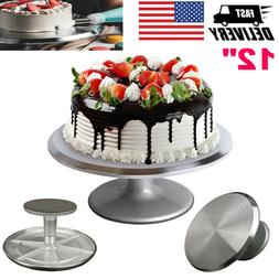 12 Inch Aluminum Cake Turntable Rotating Decorating Stand Pa