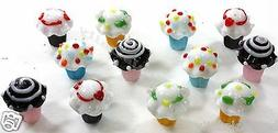 12 PACK LOT GLASS CUPCAKE CAKE TOPPERS DECORATIONS LILLIAN V