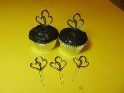12 Silver Double Heart Wedding Cupcake Picks Cake Decoration