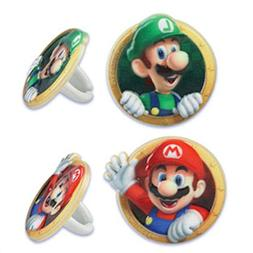 12 Super Mario Bros Luigi Cupcake Rings Toppers Cake Decorat