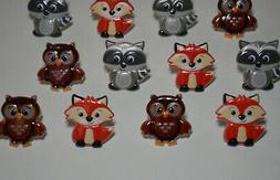 12 Woodland Animal Cupcake Rings Topper Fox Raccoon Owl Bday