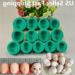 13pcs Silicone DIY Dolls Face Head Mold Sugarcraft Cake Deco