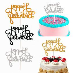 15 PCS Glitter Paper Happy Birthday Cake Topper Cupcake Dess