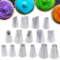 15 Pcs Stainless Steel Cream Piping Nozzle Pastry Tips DIY C