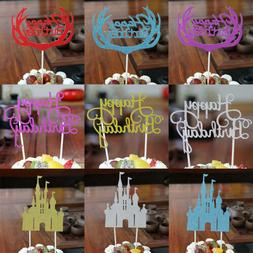 15PCS/Lot Happy Birthday Glitter Paper Cupcake Cake Topper D