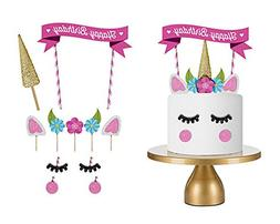 15PCThe Silver Gold Unicorn Birthday Cake Topper Decor Party