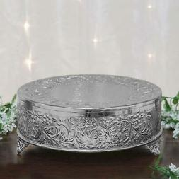 "18"" SILVER ROUND CAKE STAND Display Wedding Birthday Party F"