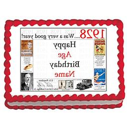 1928 90th BIRTHDAY PERSONALIZED EDIBLE CAKE IMAGE by Partypr