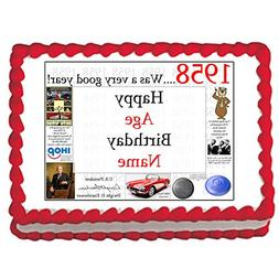 1958 60th Birthday Personalized Edible Cake Image by Partypr