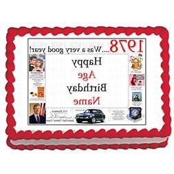 1978 40th Birthday Personalized Edible Cake Image by Partypr