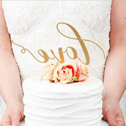 1Pc LOVE Cake Topper Sparkle Glitter Gold Wedding Decoration