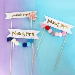 1set Plush Ball Garland Happy Birthday <font><b>Cake</b></fo