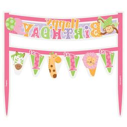 1st BIRTHDAY Pink Safari MINI CAKE BANNER ~ First Party Supp