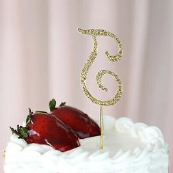 """2.5"""" GOLD Letter T Rhinestone Cake Topper Wedding Party Deco"""