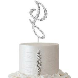 "2.5"" SILVER Letter J Rhinestone Cake Topper Wedding Party De"