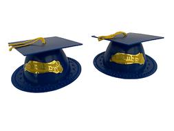 2 Blue Graduation Cap Hat Cake Topper Kit Cupcake Candy Cook
