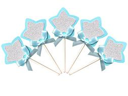 Kapok life 21-pac Blue and Silver Star Cupcake Toppers Picks