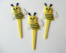 24 Bee Cupcake Picks Bumblebee Cake Toppers Decorations Gard