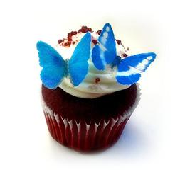 """24 Blue Edible Wafer Paper Butterflies Mini Very Small 1"""" Ca"""