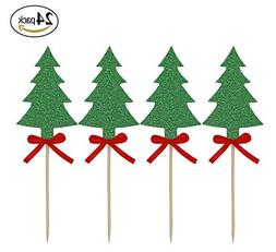 24 Pack Christmas Tree Cupcake Toppers Green Glitter Cake To