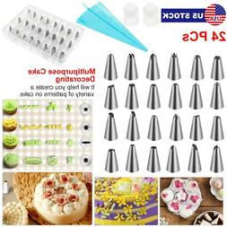 24 PIECES CAKE DECORATING KIT Supplies Tools Tips Icing Bag