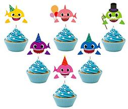 24 Pieces Cute Shark Cupcake Toppers ,Laughing Shark Cake To