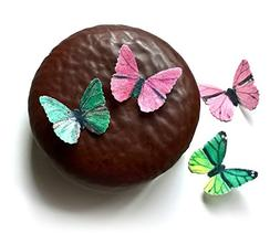 24 Pink and Green Edible Wafer Paper Butterflies Mini Very S