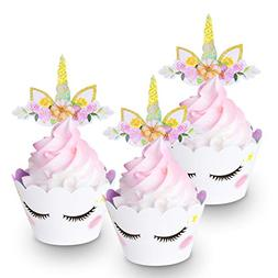 FZR Legend  24 Sets Cute Unicorn Cupcake Toppers Wrappers Ey