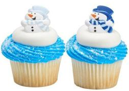 24 Snowman #2 Cupcake Rings Cake Decorations Toppers Party F