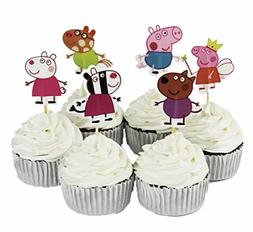 24pcs Peppa Pig Kids Party Decoration Paper Cupcake Toppers,