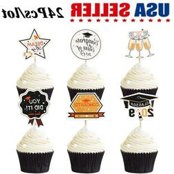 24Pcs Cake Cupcake Toppers Props  Food Sticks 2019 Graduatio