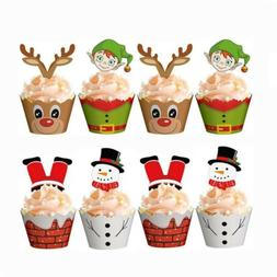 24PCS Christmas Cake Wrappers Toppers Cupcake Party Decor Ca