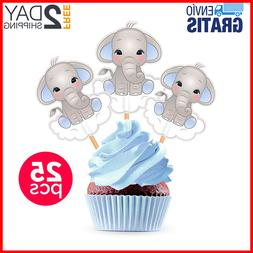25 Elephant Theme Blue Gray Cupcake Toppers Cake Baby Shower