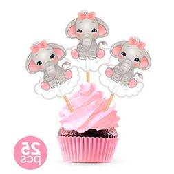 25 Pieces Girl Baby Pink Elephant Cupcake Toppers Cake Picks