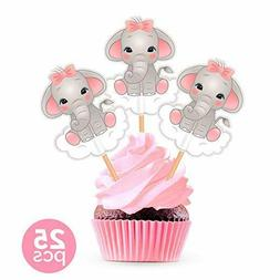 25 Pieces Pink Elephant Cupcake Toppers Cake Picks - Shower