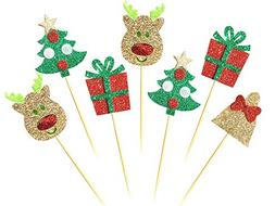 28 pack christmas cupcake toppers picks glitter