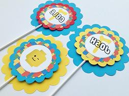 3 - Centerpieces or Cake Toppers - Lego Inspired Happy Birth
